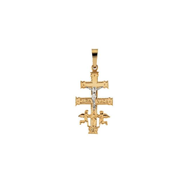 14K Yellow & White 40x24 mm Cara Vaca Crucifix Pendant