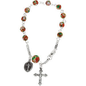 Sterling Silver Red Cloisonné Rosary Bracelet