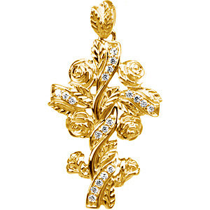 Pendant, 14K Yellow .14 CTW Diamond Floral-Inspired Cross Pendant