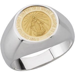 Sterling Silver & 14K Yellow Round Miraculous Medal Ring Size 7