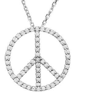 14k white 14 ctw diamond peace sign 16 necklace stuller 14k white 14 ctw diamond peace sign 16 necklace aloadofball Images