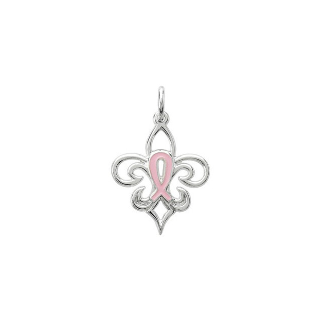 Sterling Silver 21.3X16.8 mm Pink Pourri Charm/Pendant