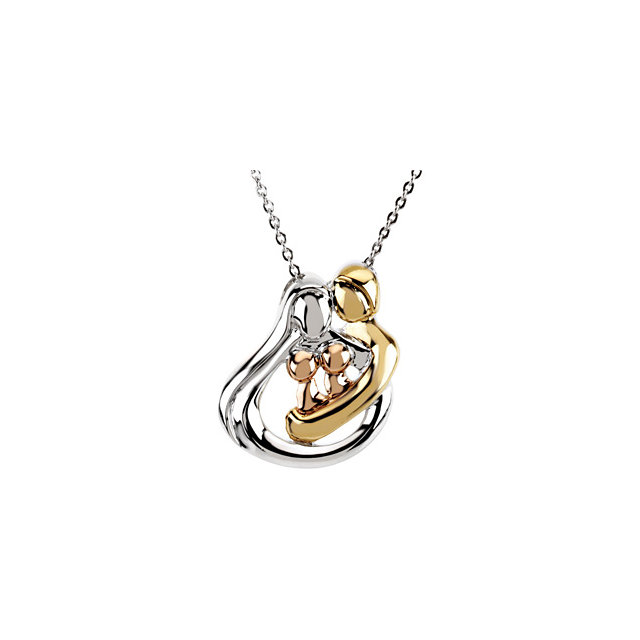 18K Yellow Gold-Plated and 14K Rose Gold-Plated Sterling Silver 2 Child Family 18