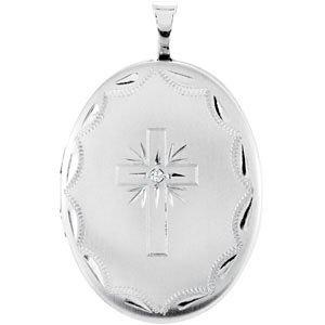 Sterling Silver .015 CT Diamond Oval Cross Locket