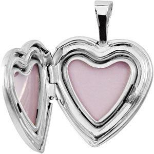Sterling Silver 16.5x15.8mm Heart Baptismal Locket