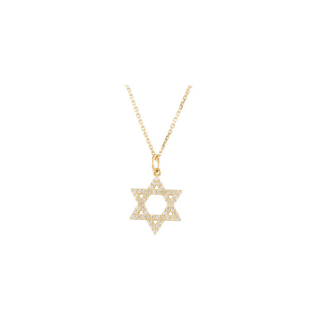 14K Yellow 1/5 CTW Diamond Star of David Necklace