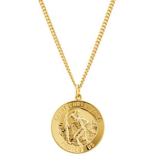 24k gold plated sterling silver 25mm st christopher medal 24 24k gold plated sterling silver 25mm st christopher medal 24 necklace aloadofball Choice Image