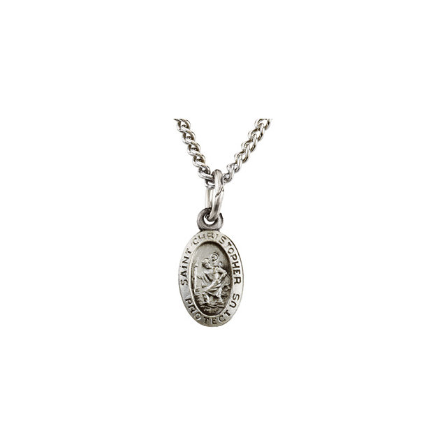 Sterling Silver 9x6 mm Oval St. Christopher 18