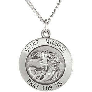 Sterling silver 25mm st michael medal necklace stuller sterling silver 25mm st michael medal necklace aloadofball Choice Image