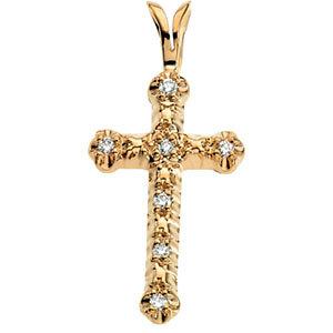 Pendant, 14K White .07 CTW Diamond Cross Pendant