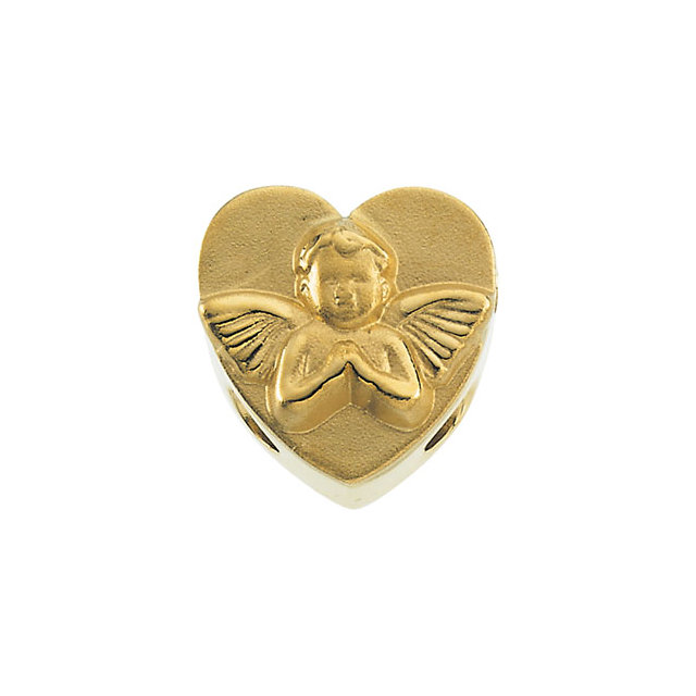 14K Yellow Heart Bracelet Slide with Cherub