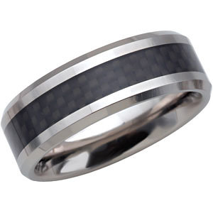 Tungsten 8mm Beveled Band with Black Carbon Fiber Center Size 8.5