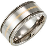 Tungsten 10 mm Flat Band with 14K Yellow Inlay