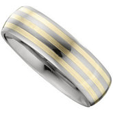 Tungsten 7.3 mm Slightly Domed Band with 14K Yellow Inlay