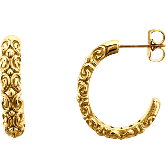 14K Yellow 20x4.1 mm Sculptural-Inspired Half-Hoop Earrings