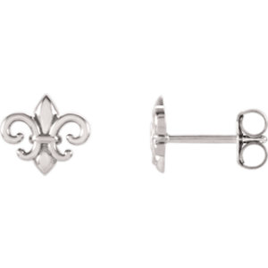 14K White Fleur-De-Lis Earrings