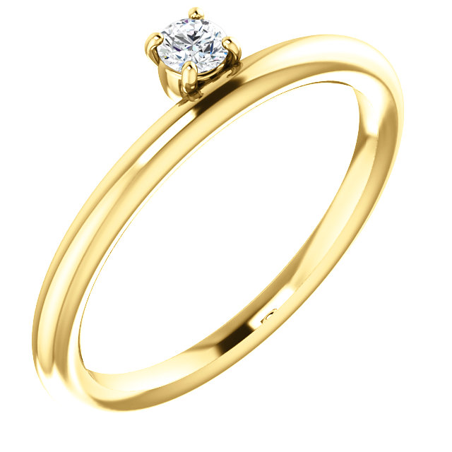 14K Yellow 1/10 CT Diamond Stackable Ring