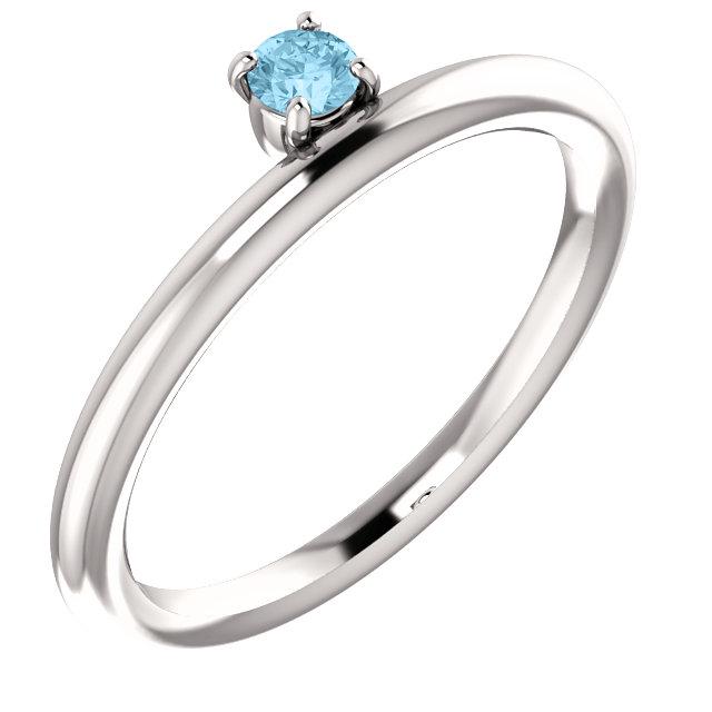 14K White Aquamarine Stackable Ring