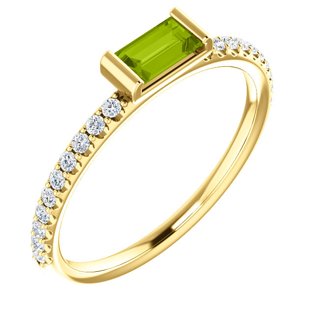 14K Yellow Peridot & 1/6 CTW Diamond Stackable Ring
