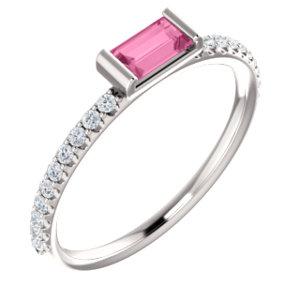 14k White Pink Sapphire 1 6 Ctw Diamond Stackable