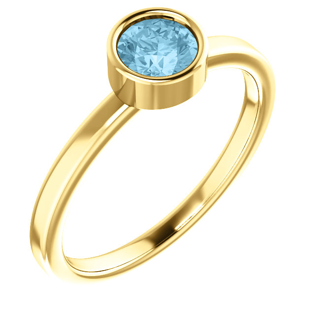14K Yellow Aquamarine Ring