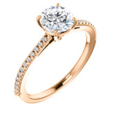 Charles & Colvard Moissanite® & Diamond French-Set Engagement Ring