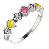 Stackable Bezel-Set Family Ring