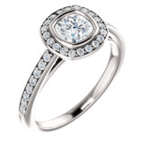 Bezel Set Halo-Style Engagement Ring