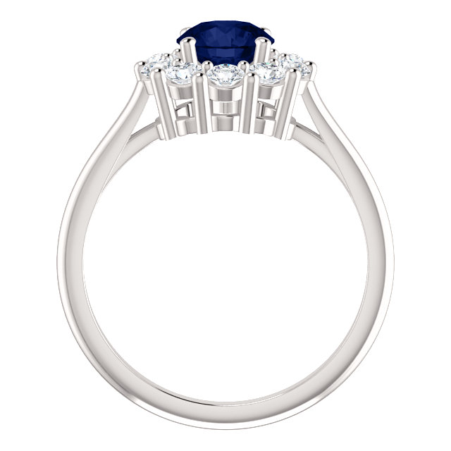 14K White Blue Sapphire & 1/2 CTW Diamond Ring
