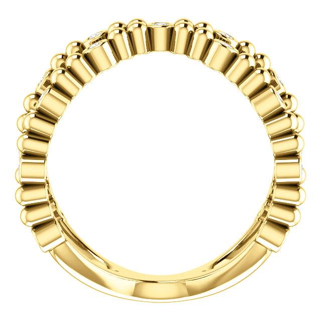 14K Yellow 1/6 CTW Diamond Beaded Negative Space Ring