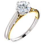 Accented 4-Prong Solitaire Engagement Ring or Band