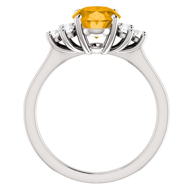 14K White Citrine & 1/4 CTW Diamond Ring