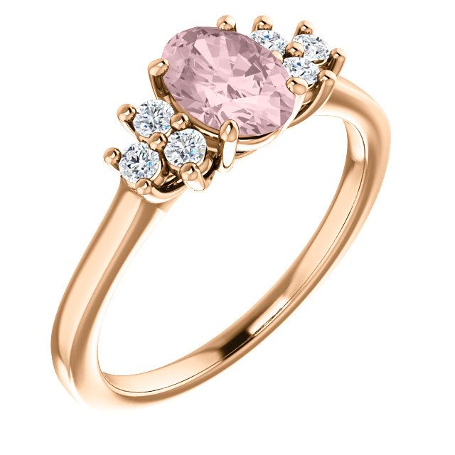 14K Rose Morganite & 1/5 CTW Diamond Ring