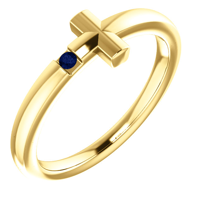 14K Yellow Blue Sapphire Youth Cross Ring