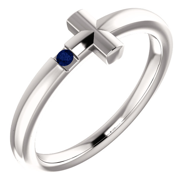 14K White 1.5 mm Round Genuine Blue Sapphire Youth Cross Ring