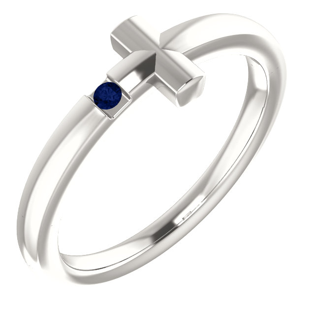 Sterling Silver Imitation Blue Sapphire Youth Cross Ring