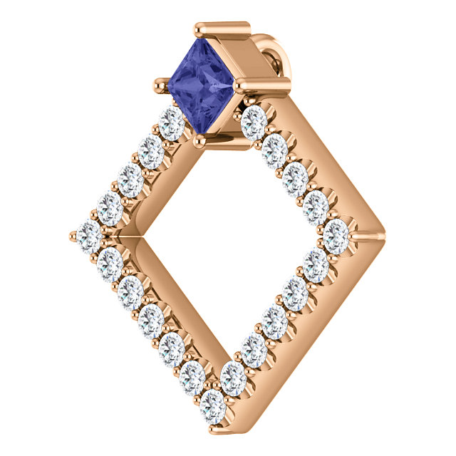 14K Rose Tanzanite & 3/8 CTW Diamond Pendant