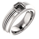 Men's Solitaire Bezel-Set Ring