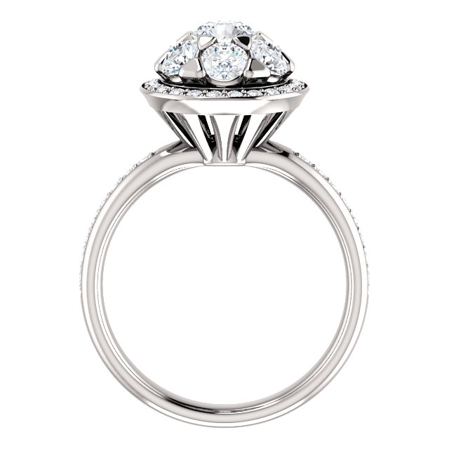 14K White 1 1/2 CTW Diamond Engagement Ring