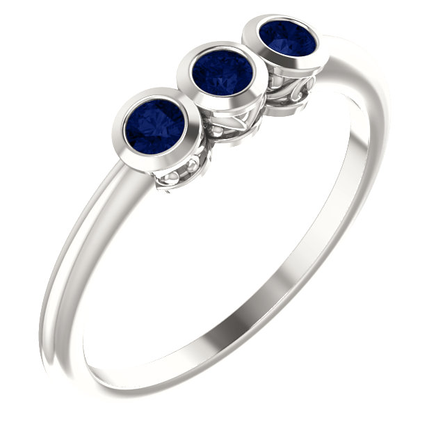 Sterling Silver Blue Sapphire Three-Stone Bezel-Set Ring