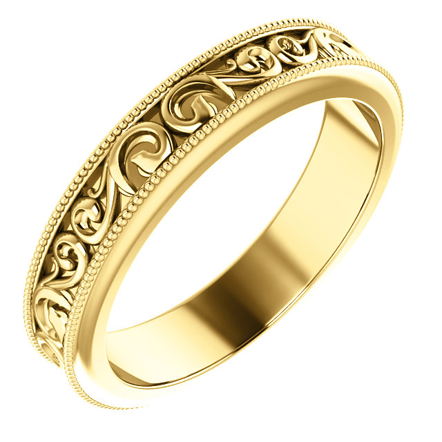 14K Yellow 4 mm Sculptural-Inspired Band Size 8.5
