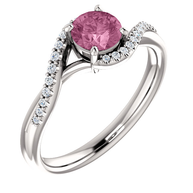14K White Passion Pink Topaz & 1/10 CTW Diamond Ring