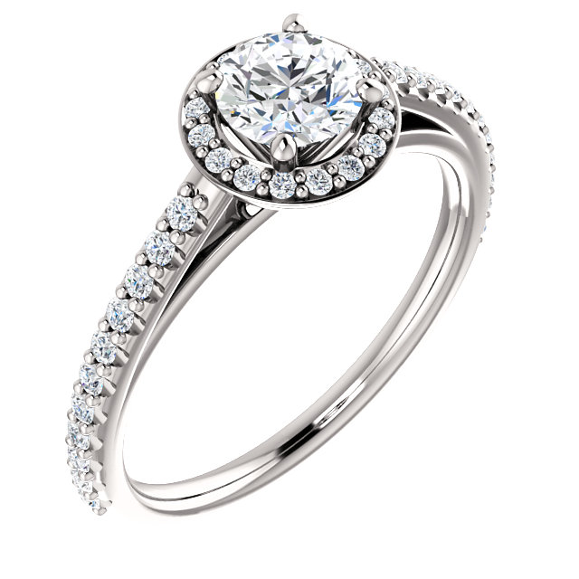 14K White 3/4 CTW Diamond Halo-Style Engagement Ring