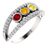 Bezel Set Negative Space Family Ring