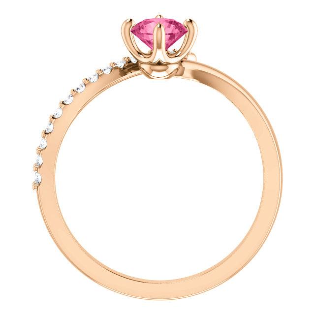 14K Rose Pink Tourmaline & 1/10 CTW Diamond Bypass Ring