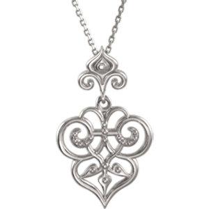 Sterling Silver Fleur-De-Lis Decorative Dangle 18