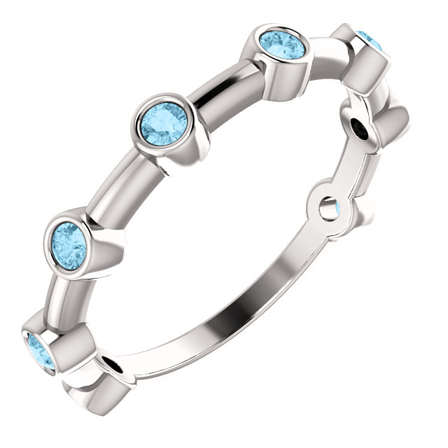 14K White Aquamarine Bezel-Set Bar Ring