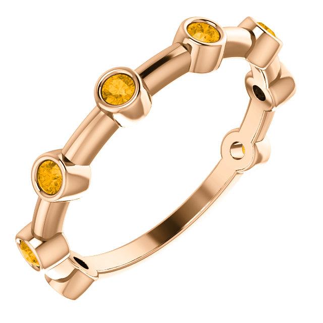 14K Rose Citrine Bezel-Set Bar Ring
