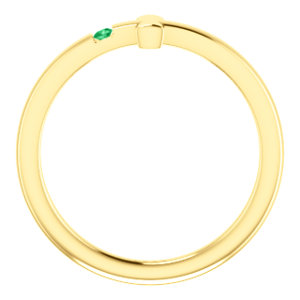 14K Yellow Chatham Lab-Grown Emerald Youth Cross Ring