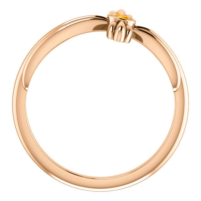 14K Rose Citrine Sideways Cross Ring